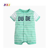 2017 New Leisure Striped Baby Romper Short Sleeve Clothes Cute Cartoon Car Baby Boys Girls Baby