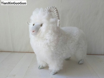 large 23x20cm simulation white sheep hard model polyethylene&furs sheep prop,home decoration gift s1672