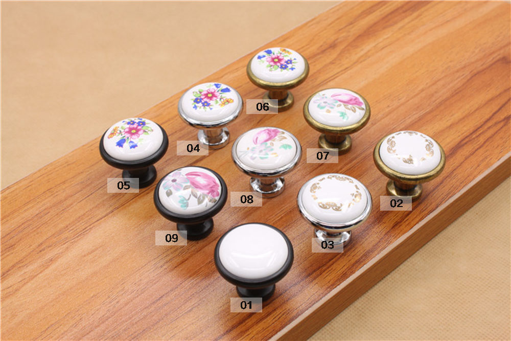 MEGAIRON Retro Chinoiserie Floral Design Cabinet Door Knobs Cupboard Dresser Drawer Pull Handle With Screws
