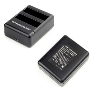 Image 4 - QIUNIU puerto de carga con doble ranura para GoPro Hero 4, cargador de dos baterías, batería de AHDBT 401 con Cable USB