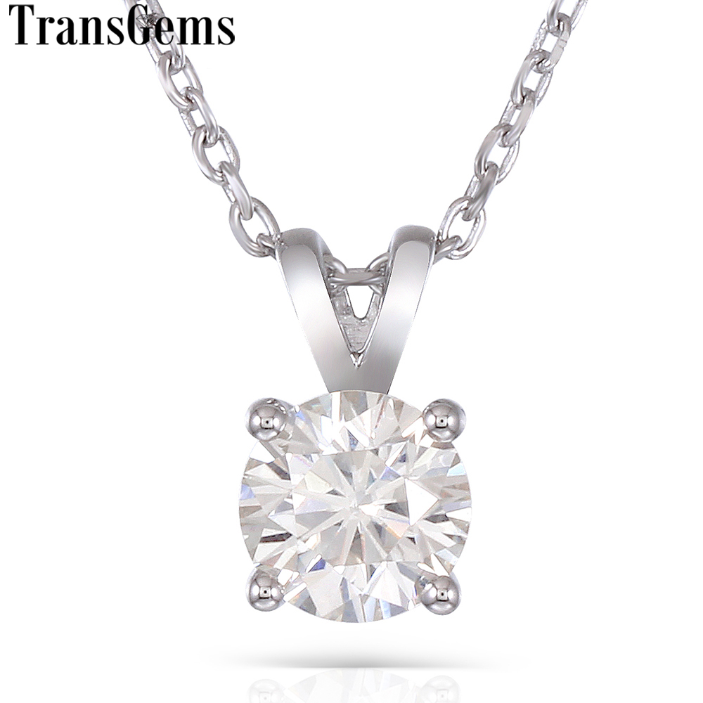 Transgems Platinum Plated Silver 2ct 8mm GH Color Moissanite Pendant Necklace for Women Wedding Sterling 925