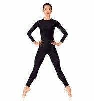 Women Long Sleeve Black Dance Unitard For FullBody Gymnastics Unitard Spandex Lycra Bodysuits Dance Team