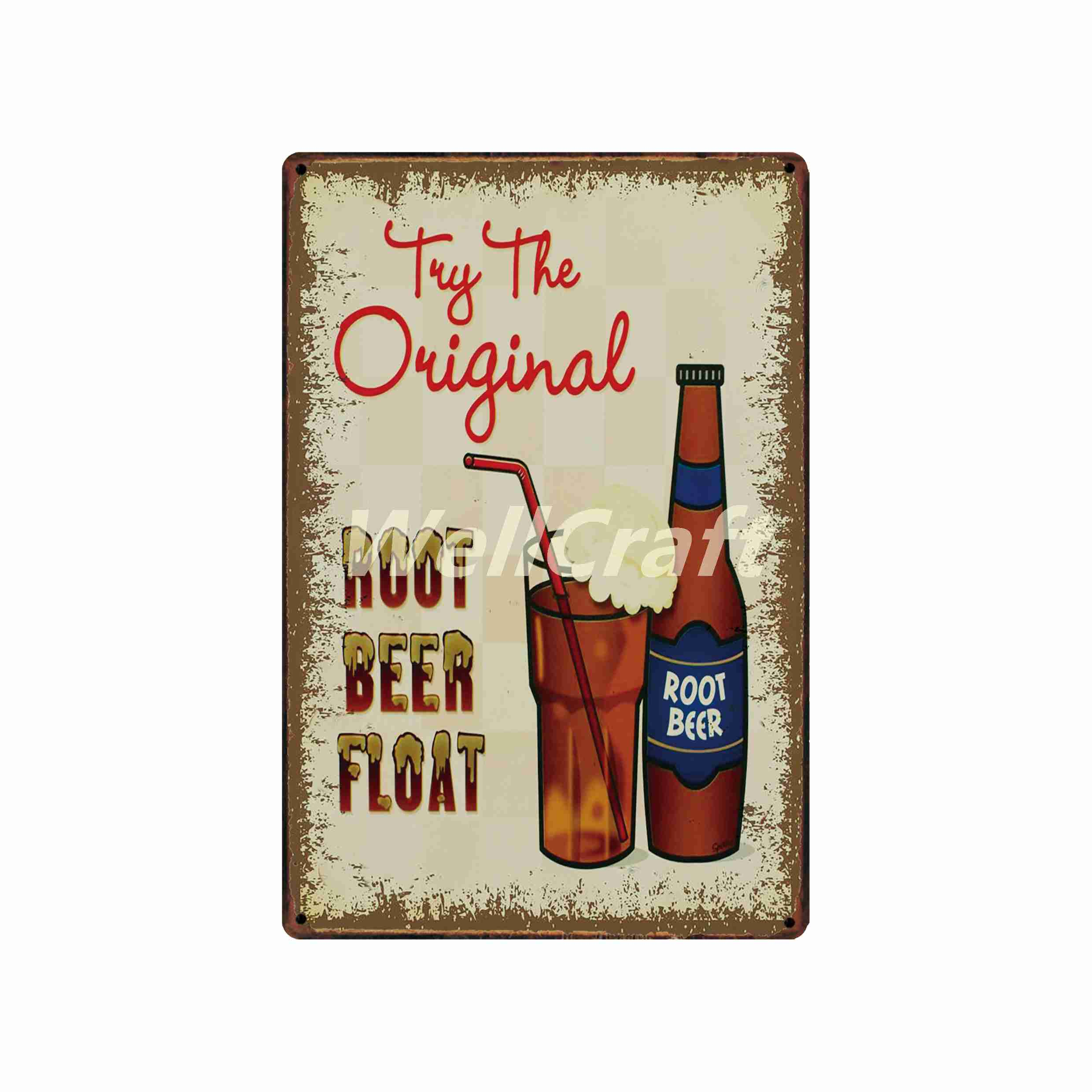WellCraft ICE COLD BEER Vintage MAN CAVE Metal Sign Wall Plaque Custom Painting Antique Pub Decor LT 1710 in Plaques Signs from Home Garden