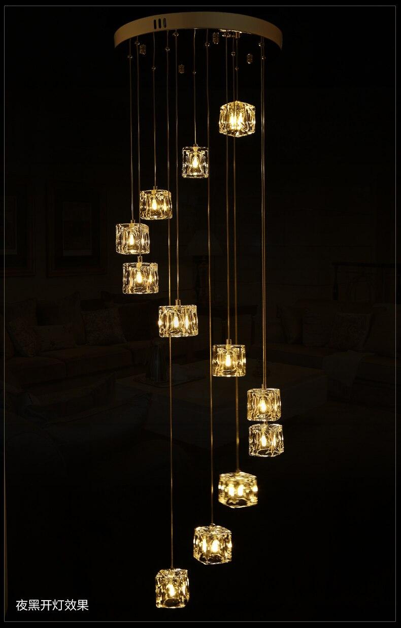 Hôtel escalier 1-5 M Extra long lumière de pêche suspendus Suspension lumière Cube Verre G4 Led lustre luminaire spirale cristal lumière