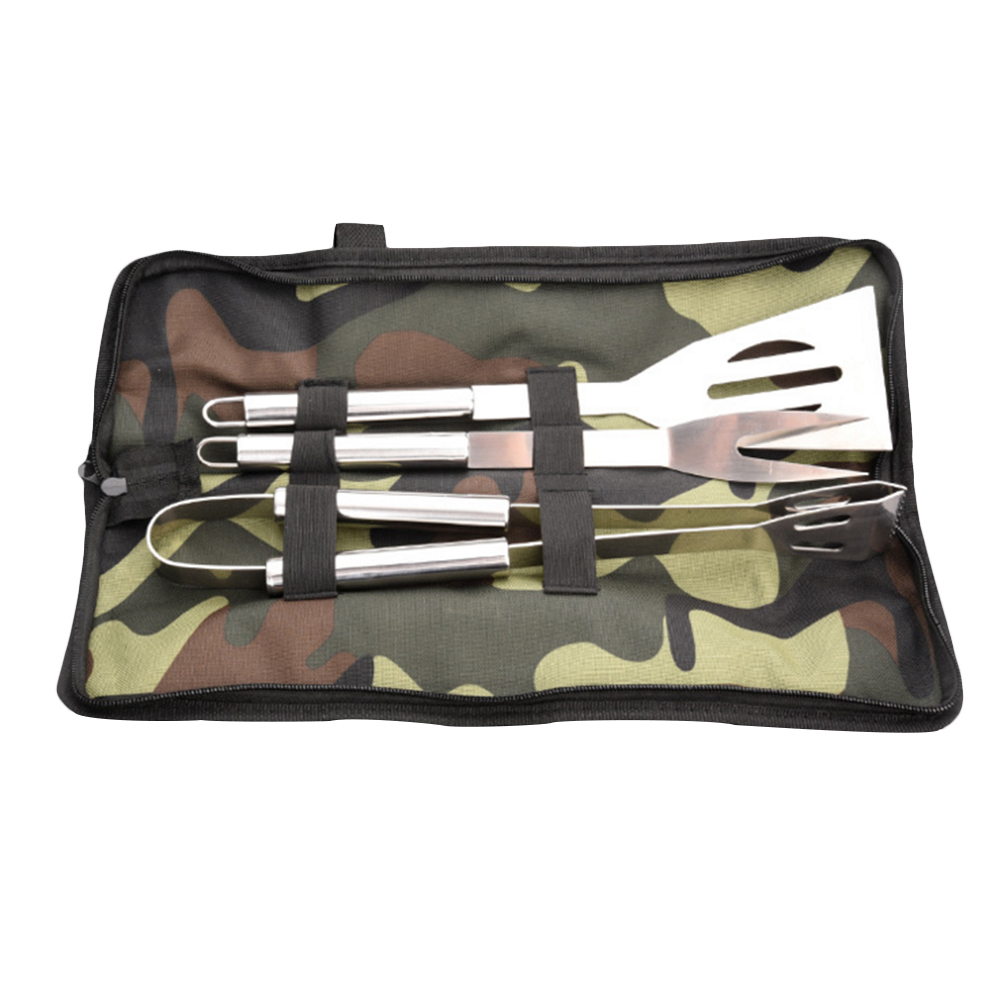 3 pcs/set Multi-use Combination Barbecue Tools Stainless Steel Truner Fork Clip Non-stick Reusable