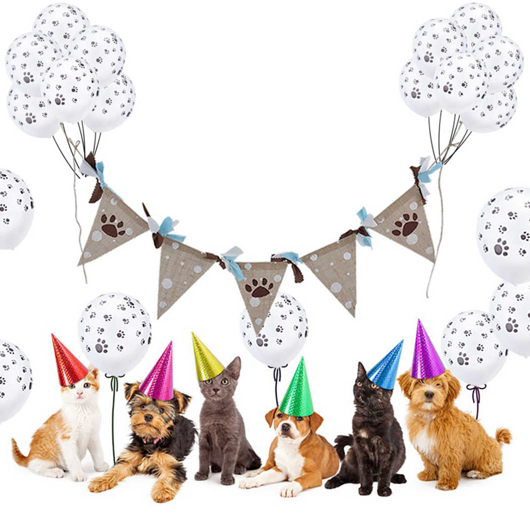 1PC Fashion Pet Dog Cat Party Banner String Burlap Flag Accessories Photography Props Birthday Supplies