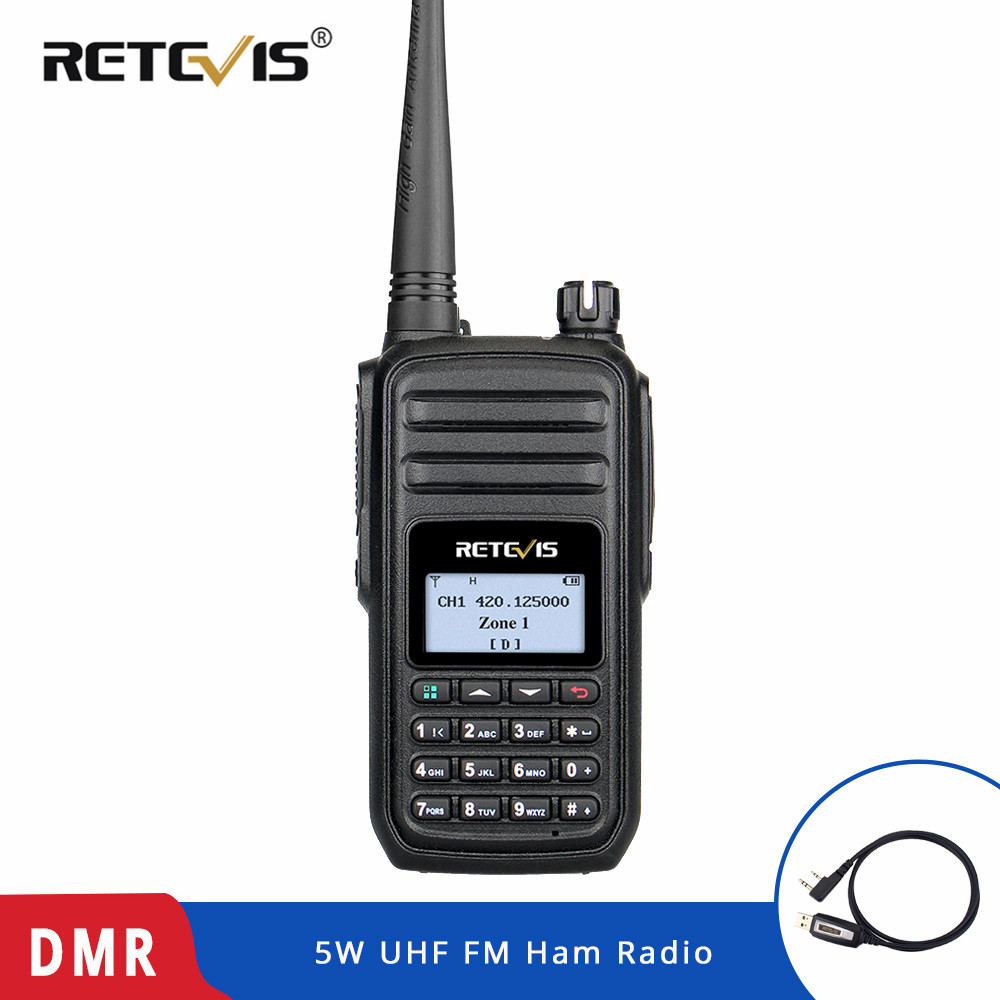RETEVIS RT80 Ham Radio DMR Digital Walkie Talkie 5W UHF VOX FM Radio Portable Two Way Radio Amador Analog/Digital Transceiver-in Walkie Talkie from Cellphones & Telecommunications