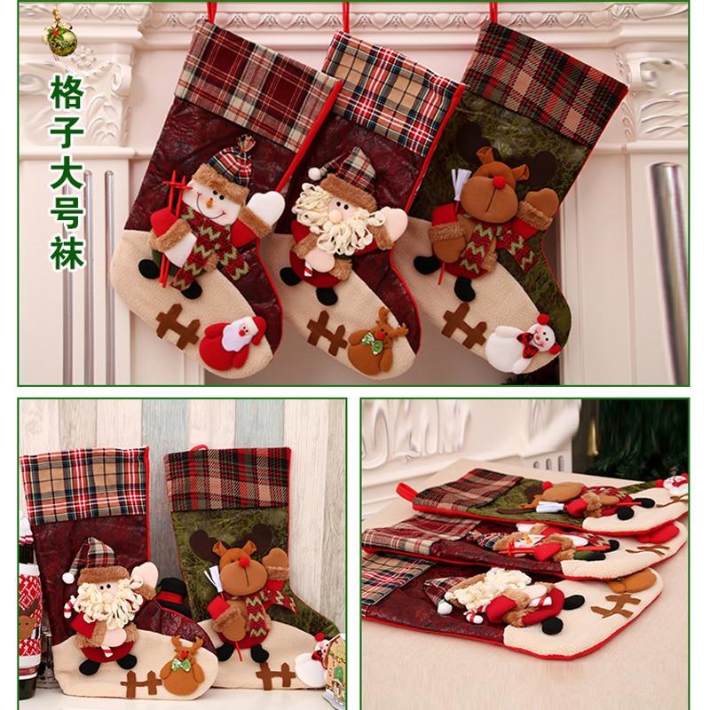 Christmas Stockings gift socks santa socks kids decoration christmas socks decorations for home xmas new year socks for girls in Stockings Gift Holders from Home Garden