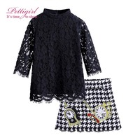 Pettigirl Fashion Autumn Girl Clothing Set Long Sleeve  Black Lace Blouse Houndstooth Skirt With Clock Pattern  G-DMCS908-852