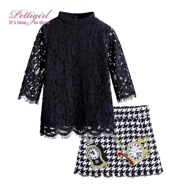 Pettigirl moda otoño la ropa de la muchacha de manga larga de encaje negro blusa falda de pata de gallo con patrón reloj g-dmcs908-852