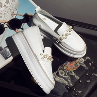 697a85ae37f genuine leather small white shoes two style tassel bow-tie leather canvas shoes  women pearl