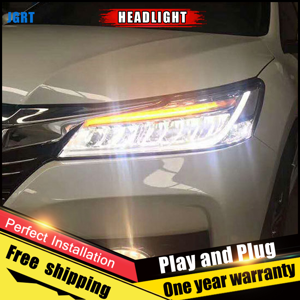2PCS Car Style LED headlights for Honda Accord 2016 for Accord head lamp LED DRL Lens