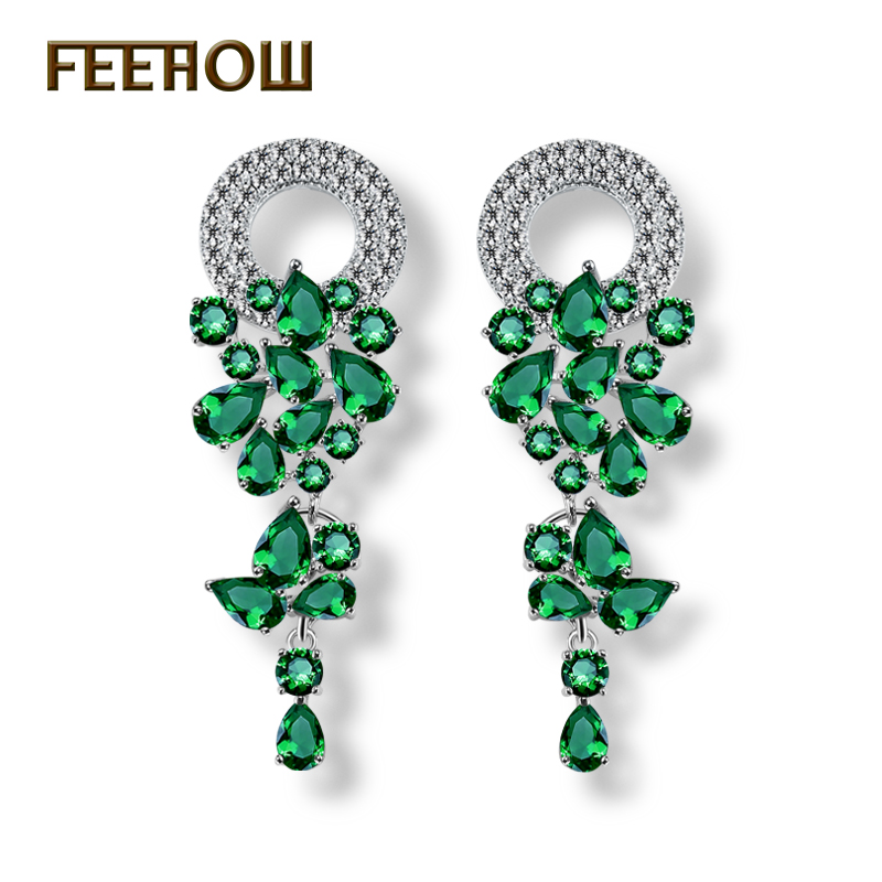 FEEHOW Exquisite Sliver Color Long Dangle Earrings Top Quality Green Water Drop Leaf Drop Earrings for Women Wedding FWEP154 vintage leaf water drop earrings