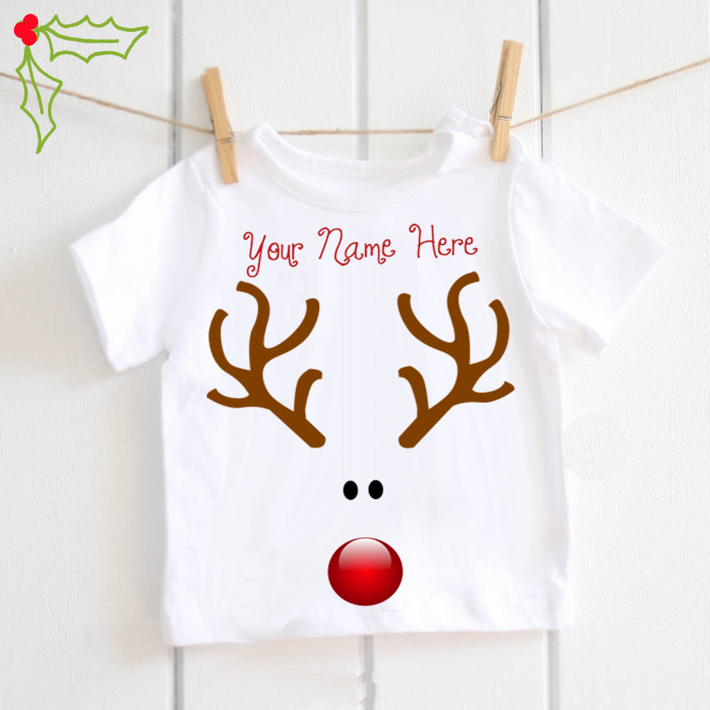 7b74edac Rudolf the Reindeer personalised T shirt baby boys Christmas Tshirt ...