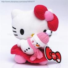 Adorable Soft Pink Dots Hello Kitty Hold Snowman Pillow Plush Japan Ainime Kitten Cat Dolls Toys