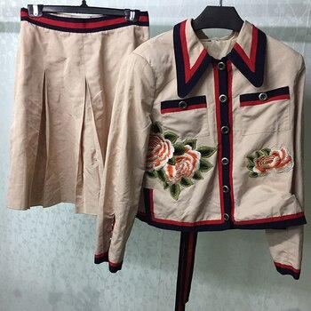 Autumn 2 Piece Set Women Turn-down Collar Jakcet & Pleated Skirt Ladies Elegant Style Two Piece Women Suit