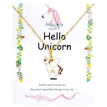 Unicorn Necklace Card Pendant Wihoo Horse Women Pendant Children Girls Cute Fashion Jewelry Gift Kids Enamel Party Gold 4