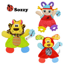 Söt Cartoon Girl Animal Baby Rattles Spädbarn Soft Ring Paper Playmate Doll Teether Utveckling Småbarn Leksaker Julklappleksaker