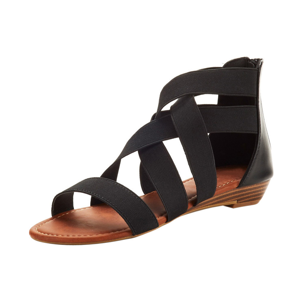 Platform Sandals Wedges Cross-Elastic-Strap Shoes Summer Roman Femme Feminina 45 LX Ankle
