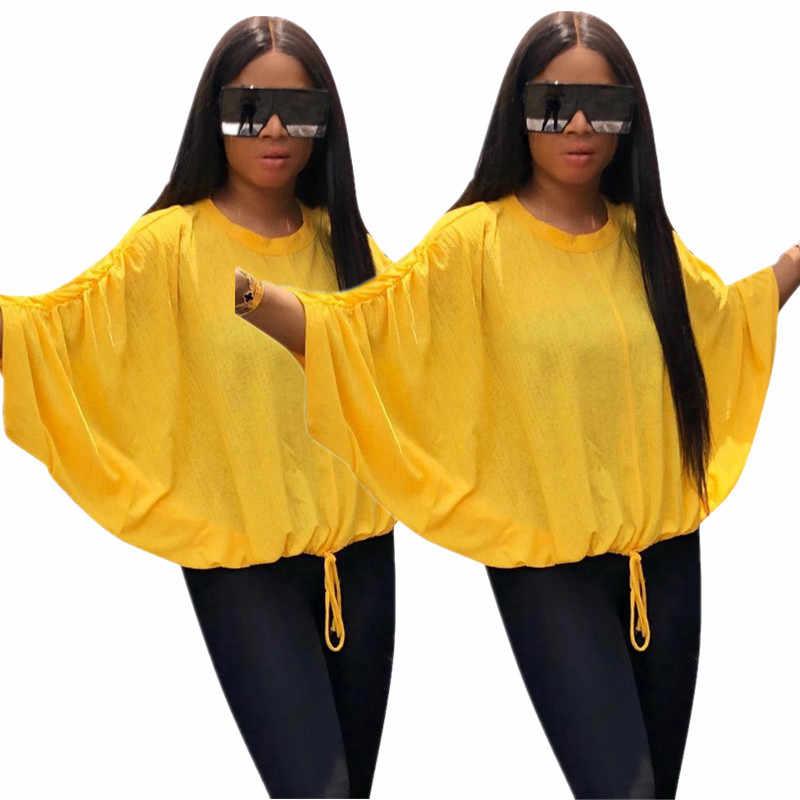 """Рукав """"летучая мышь"""" модная Три Quarte свободные Повседневное комфорт желтый Джокер Топ уличный стиль возраст-снижение оборудования Топ"""