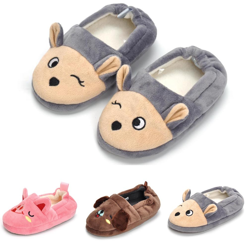Kid Baby Boys Girls Cartoon Animal Indoor Warm Slipper Soft Sole Casual Shoes