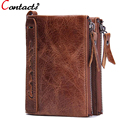 CONTACT'S Genuine Leather Men Wallet Coin Purse Card Holder Zipper Small Clutch Bags Famous Brand Dollar Price Walet Money Bag