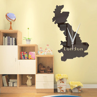 Creative world map mirror clocks DIY silent clock Love Wall Sticker Creativity wall clock Love wall clock Home Decoration