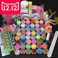 EM-126FREE SHIPPINGHigh quality Pro Acrylic Liquid Nail Art Brush Glue Glitter Powder Buffer Tool Set Kit Tips