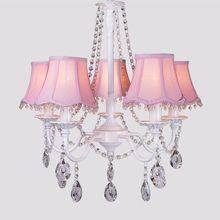 hot deal buy oovov fabric crystal princess room pendant lights lamp kid's room chandelier light 5 lights living room pendant lamps