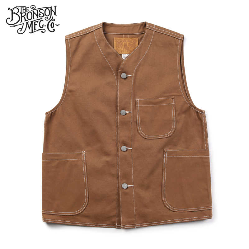 Bronson vintage 11 oz canvas vest men's casual vest pocket Vests