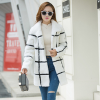 White and black striped contrast color natural merino sheep fur coats women stand collor real fur jackets 2018 winter MOVAU0213