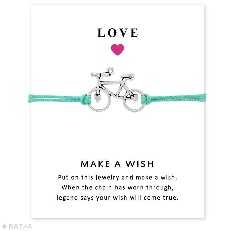 ホット販売ユニセックス友情ステートメント願い事シルバー真鍮ライブのためにライドサイクリングバイカー自転車チャームメンズブレスレット女性