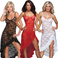 Sexy Lingerie Dress Women Lace Dress Long Gown Sexy Sleepwear Sheer Mesh Bridal Babydoll Plus Size