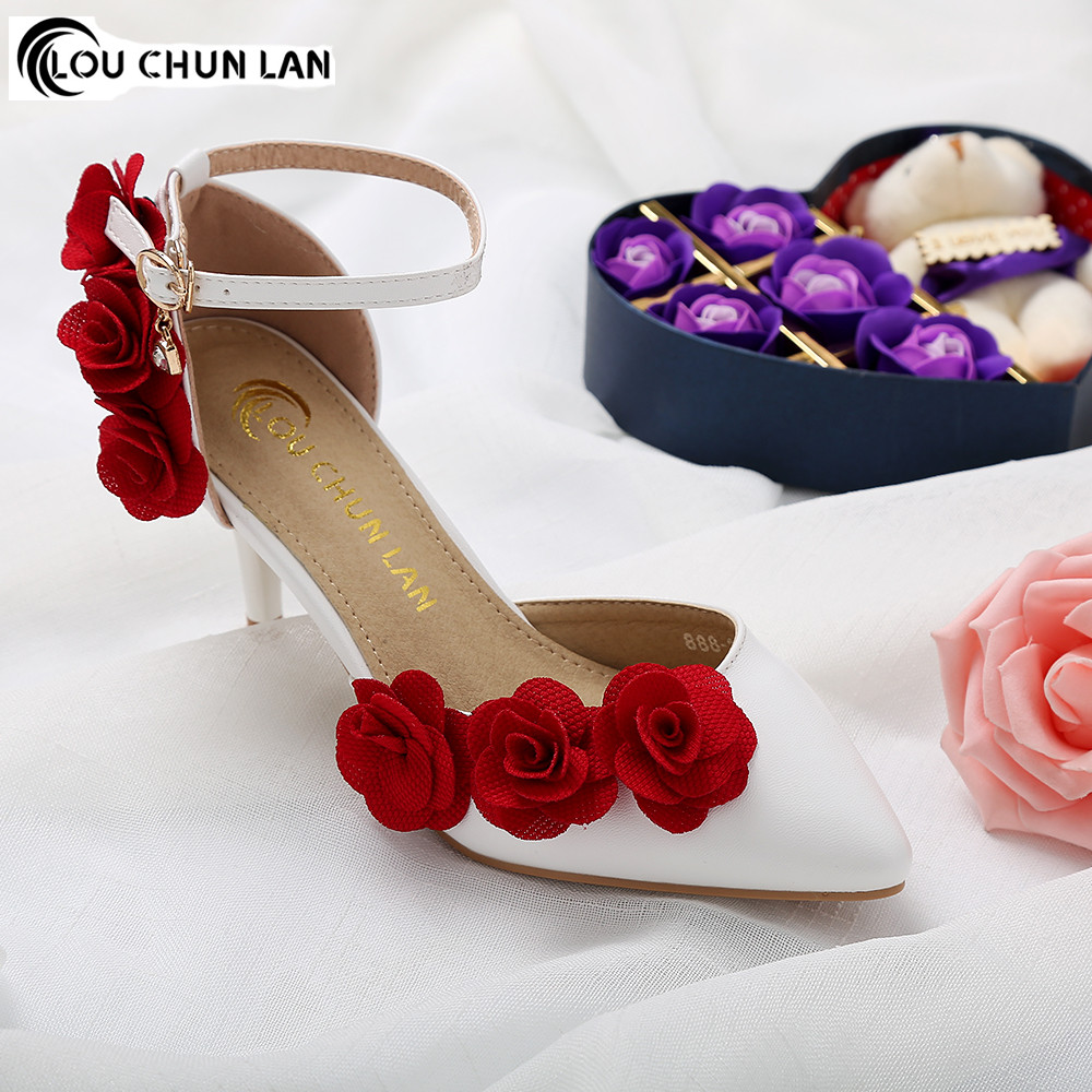 Women shoes sandals White wedding shoes female buckle sandals flower - Women's Shoes