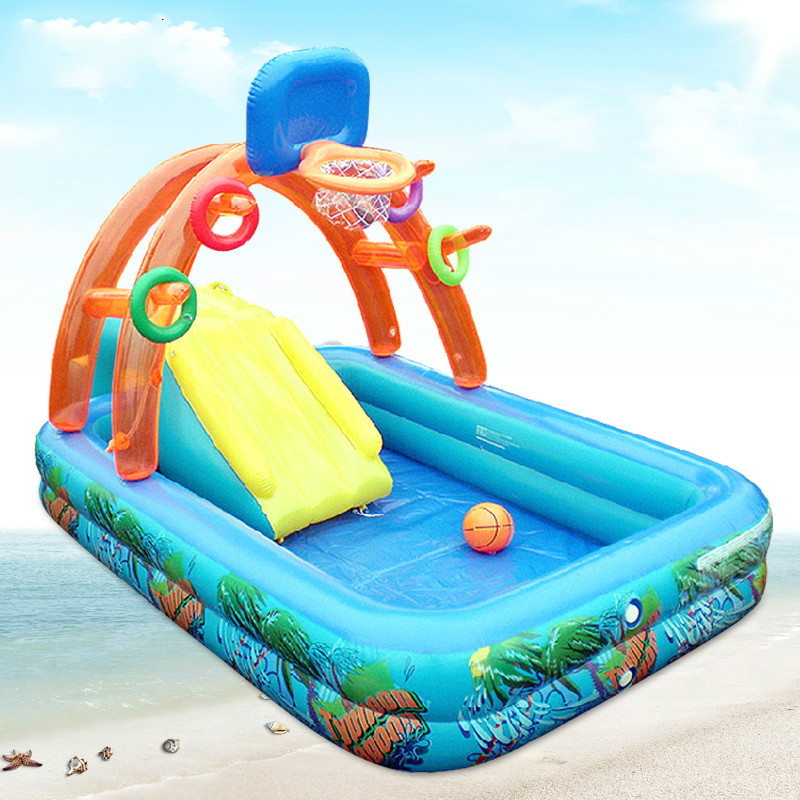 Multifunctional High Quality Large Baby Swimming Pool Inflatable Children's Water Park Baby Pool Inflatable Slide Castle C01 environmentally friendly pvc inflatable shell water floating row of a variety of swimming pearl shell swimming ring