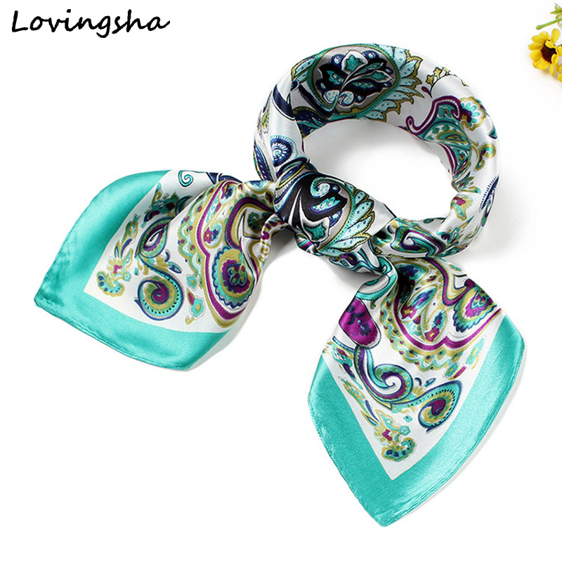 LOVINGSHA 60*60cm Ladies Silk   Scarf     Wraps   Satin Square Europe Style   Scarf   Printed Vintage Design Women Imitated Silk   Scarf   SC025