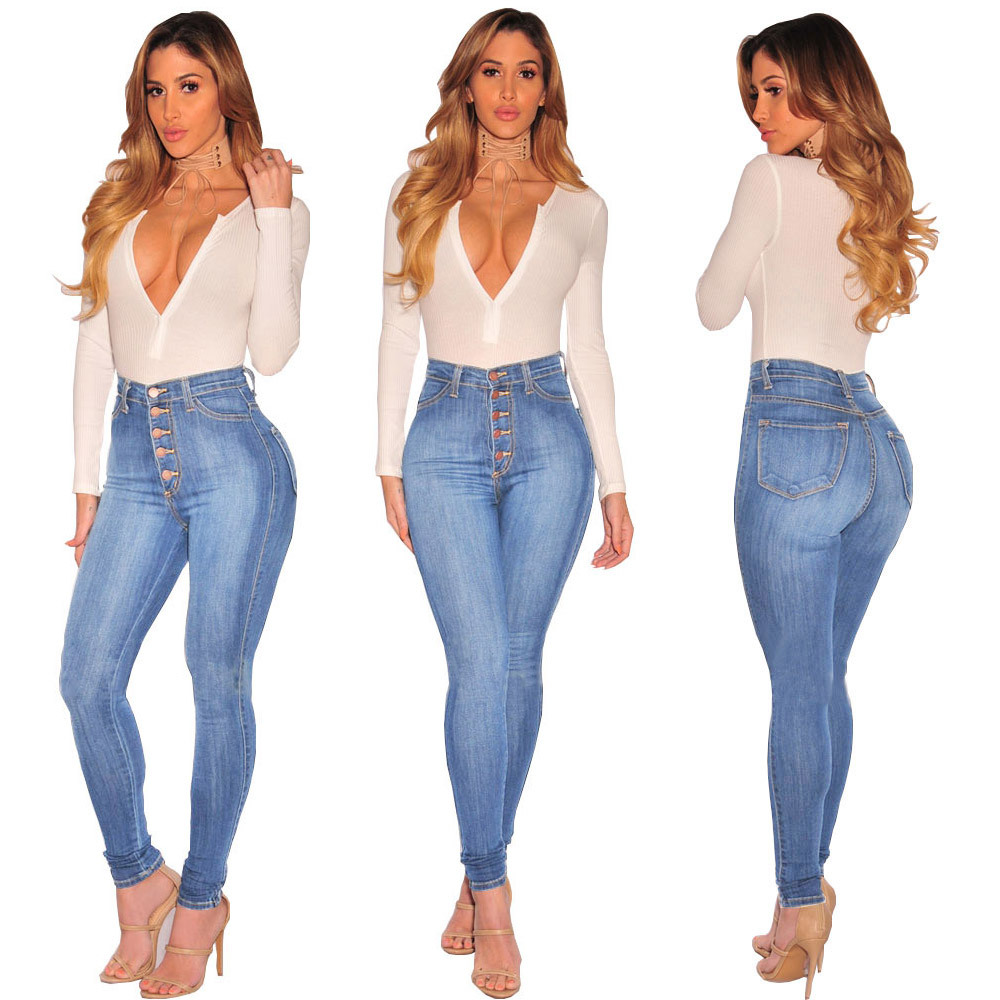 QMGOOD Women's Stretch   Jeans   2018 New Solid Pencil Denim Pants High Waist Skinny Fashion Nova   Jeans   Autumn Mom   Jeans   Trousers XL
