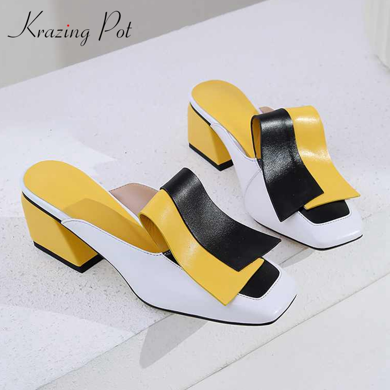 Krazing Pot new genuine leather patch work mixed color mules women daily wear square toe novelty