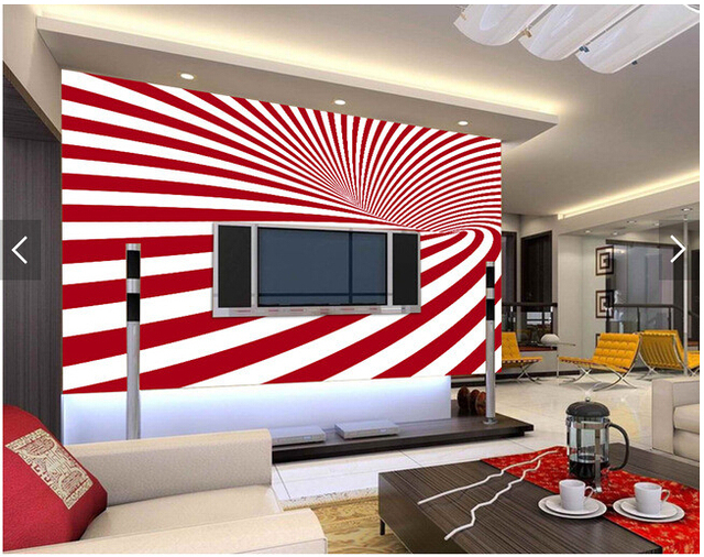 Custom striped wallpaper, red and white stripes for the living room ...