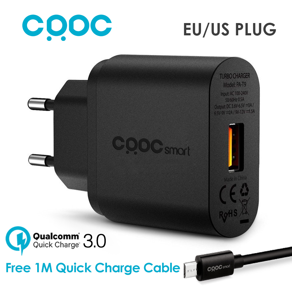 As AUKEY , CRDC 18W Fast USB Charger Qualcomm Quick Charge 3.0 / QC2.0 Compatible Phone Charger for iPhone 7 6S Samsung Xiaomi LG