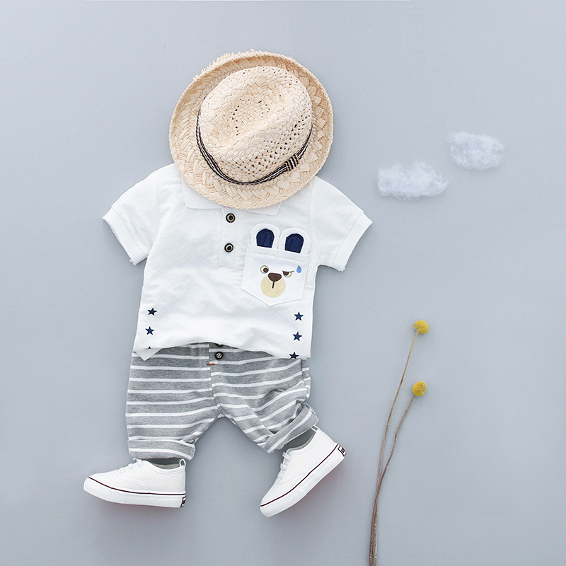 Newborn Baby Summer Clothes Short Sleeve T Shirt+Striped Pants 2pcs Baby Boy Set 0 3t Age Cotton Infant Clothing Casual Outfit