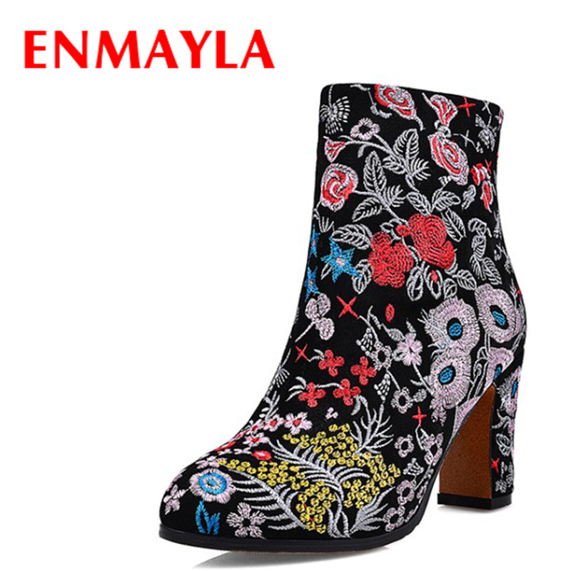 ENMAYLA Ethnic Style Women High Heels Embroidered Ankle Boots for Women Winter Leather Shoes Woman Fur Black Suede Short Boots enmayla autumn winter chelsea ankle boots for women faux suede square toe high heels shoes woman chunky heels boots khaki black