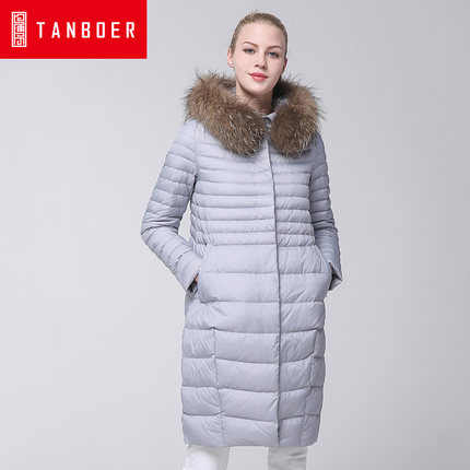 2016 new hot winter Thicken Warm woman Down jacket Coats Parkas Outerwear Hooded Raccoon Fur collar End long plus size 2XXL 2016 new hot winter thicken warm woman down jacket coats parkas outerwear hooded fox fur collar luxurious long plus size 3xxxl