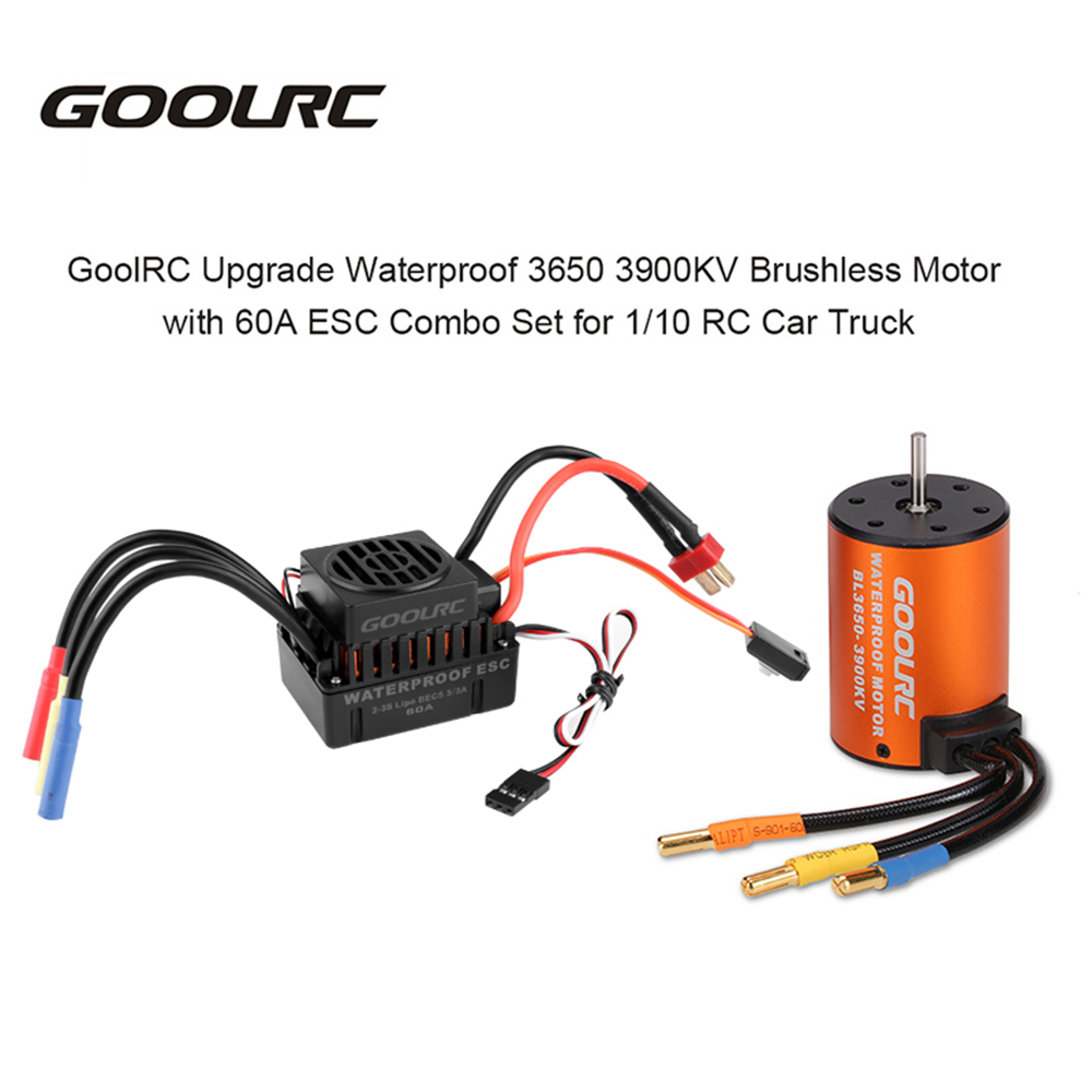 GoolRC Upgrade Waterproof 3650 3900KV Brushless Motor with 60A ESC Combo Set for 1 10 RC