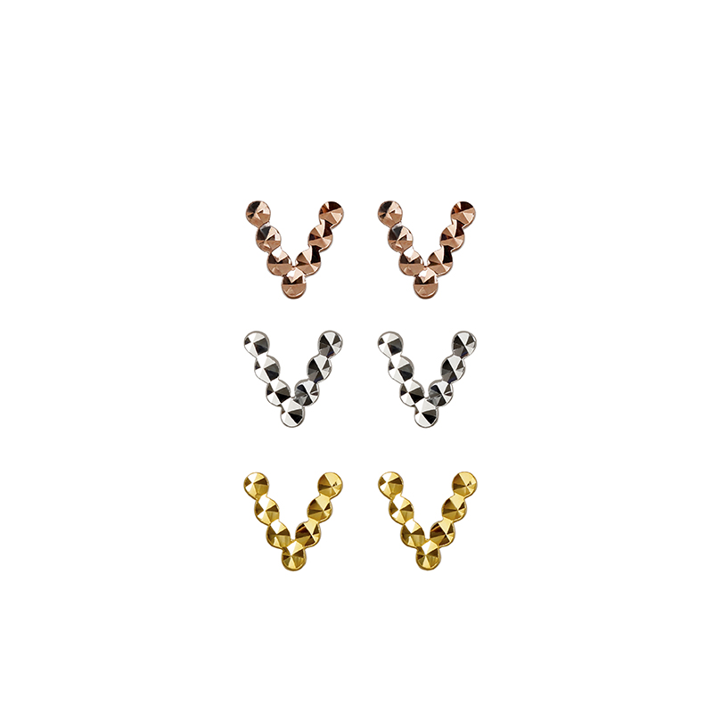 Pure AU750 Gold Earrings Women Geometric V Letter Stud Earrings