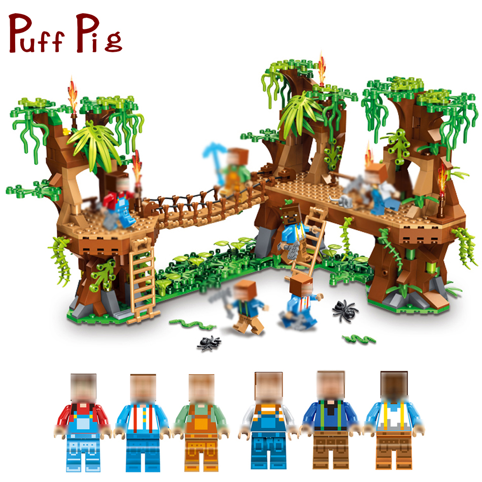MY WORLD Forest House Steve Figures Building Blocks Bricks Set Compatible Legoed Minecrafted City Educational Toys for Children 771pcs 8in1 minecrafted manor estate house my world model building blocks bricks set compatible legoed city boy toy for children
