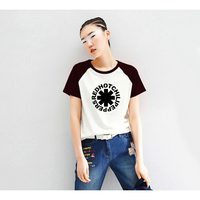 Red Hot Chili Pepper T Shirt Womens Raglan Sleeve Letter Print Tshirt Female Clothes Rock Punk
