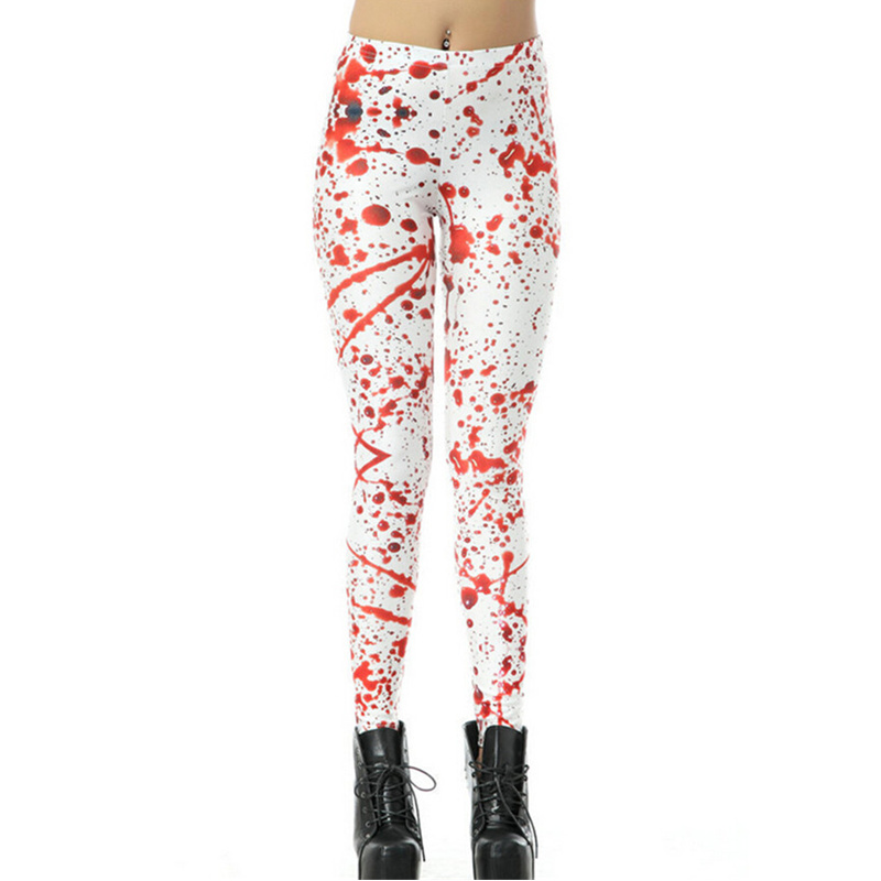 DOUBCHOW Womens Blood Drops Print  Leggings Pants Maiden Girls Spandex Shiny Stretchy Leggings Costume Skinny Footless Plus Size