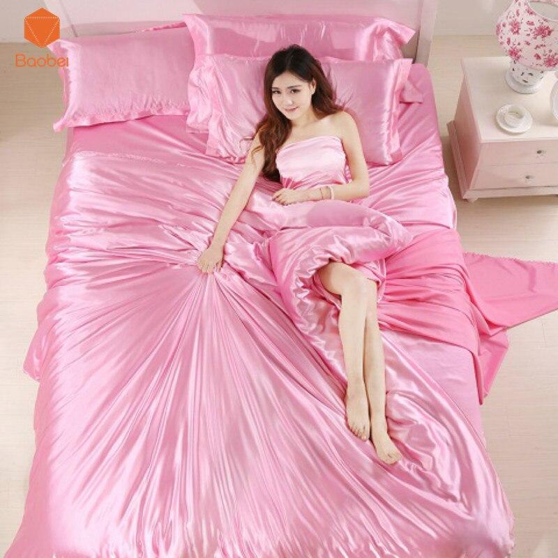 Luxury bedding set Silk 4pcs bedclothes bed linen sets queen king size Quilt duvet cover set