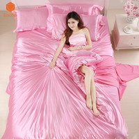 Luxury bedding set Silk 4pcs bedclothes bed linen sets queen king size Quilt/duvet cover set bedsheets Pillow case Sj10